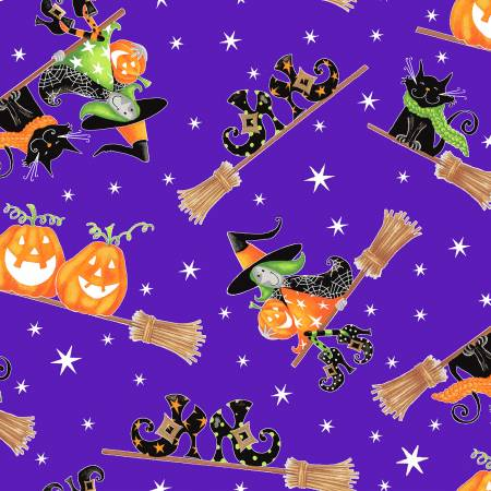 Purple Flying Witches Glow in the Dark Fabric