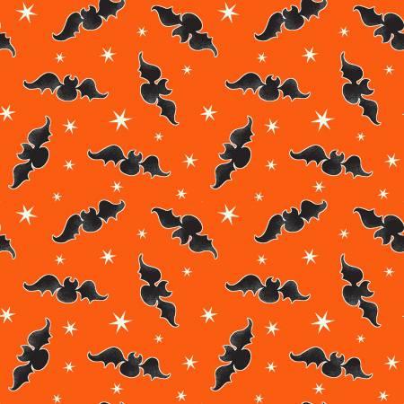 Here We Glow - Orange Tossed Bats Glow in the Dark Fabric 9537G-39