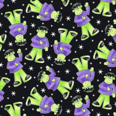 Here We Glow - Black Tossed Frankenstein Glow in the Dark Fabric 9538G-95