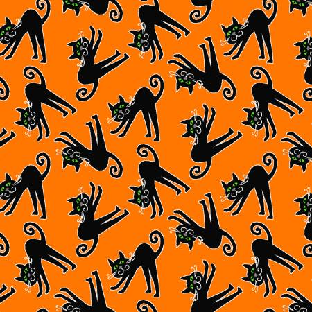 Orange Tossed Frankenstein Glow in the Dark Fabric