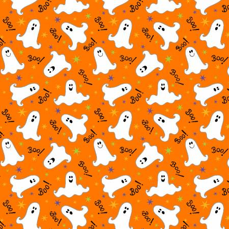 Orange Tossed Ghosts Glow in the Dark Fabric