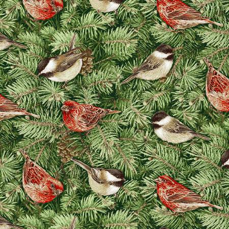 Holiday Botanical Birds on Pine Branches on Green