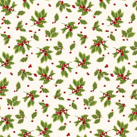 Holiday Botanical Cream Tossed Holly Leaves