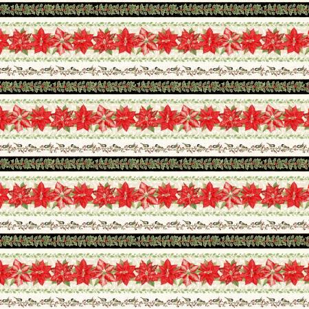 Holiday Botanical Cream Border Stripe
