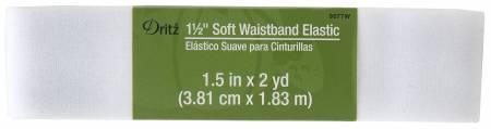 1 1/2in x 2yds Soft Waistband  Elastic White