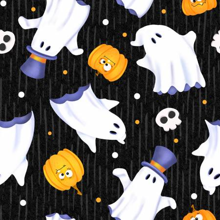 Glow Ghosts - Black Tossed Ghosts Glow in the Dark Fabric 9605G-99