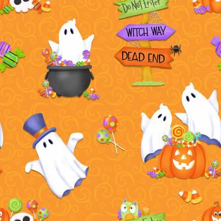Glow Ghosts - Orange Ghost, Pumpkins & Candy Glow in the Dark Fabric 9607G-33