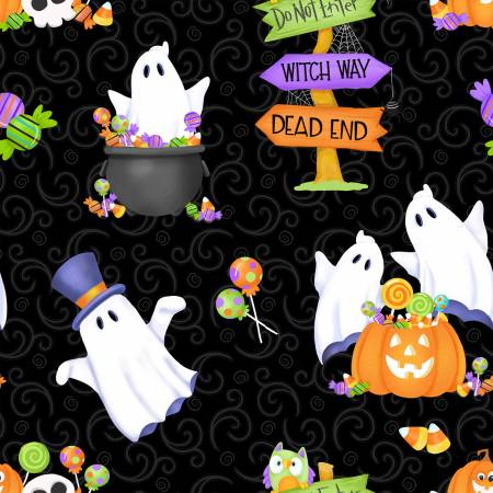 Black Ghost, Pumpkins & Candy Glow in the Dark Fabric - Glow Ghosts by Henry Glass Fabrics