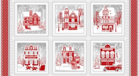 Holiday Lane Red/Grey Panel