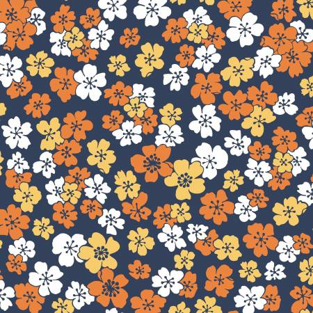 Navy Little Flowers