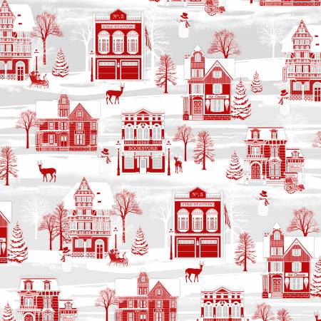 Henry Glass & Co. Holiday Lane 9624-89 Red/Grey Winter Village