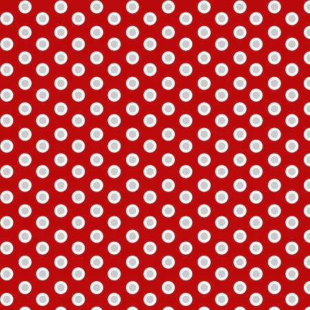 Holiday Lane White/Grey Dots on Red
