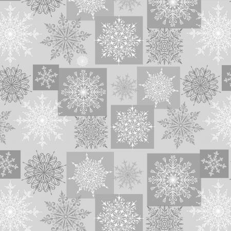 Henry Glass & Co. Holiday Lane 9631 90 Grey Snowflakes in Blocks