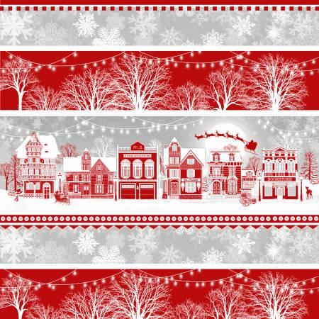 Henry Glass & Co. Holiday Lane 9633-89 Red/Grey Village Novelty Stripe
