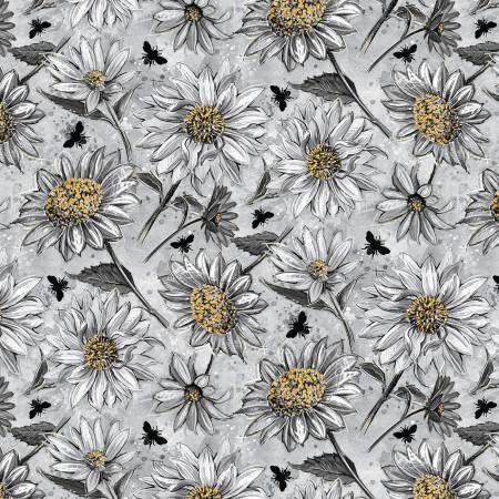 A Bee's Life - Grey Daisy Allover