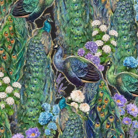 Plumage-Black Peacocks & Flowers