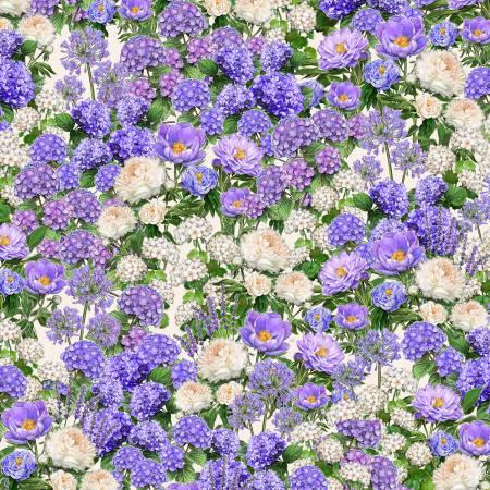 Ivory/Purple Packed Floral