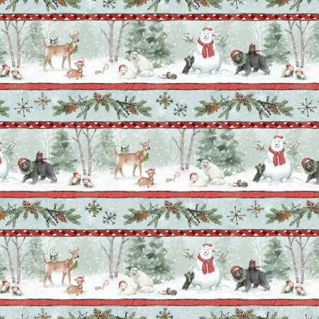 Snowy Wishes Multi Woodland Friends Repeating Stripe 96444-431