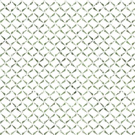 Ultra White/Green Delicate Crosshatch