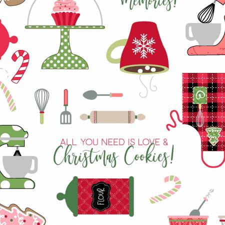 Kimberbell We Whisk you a Merry Christmas Fabric: Lg Multi on White