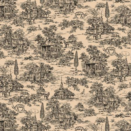 Farmhouse 108in Wide Backing - Black Toile on Tan