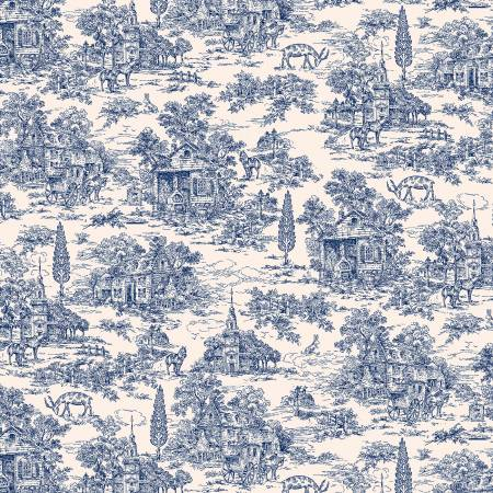 Navy/Cream Toile 108in Wide Quilt Back