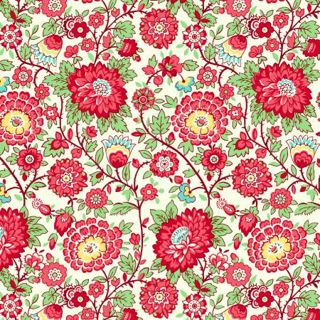 Red Medium Floral 1930's Reproduction
