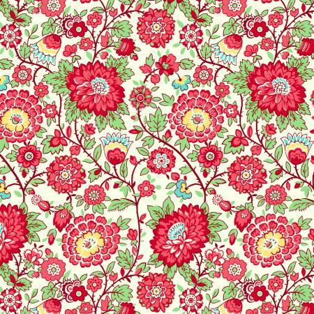 Nana Mae Red Medium Floral 1930's Reproduction