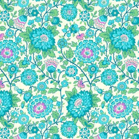 Nana Mae V -  Aqua Medium Floral
