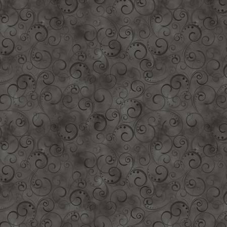 Charcoal Gray Swirling Splendor 108in Wide Back