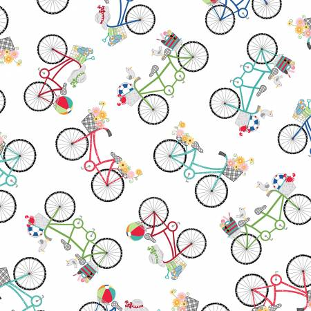 Kimberbell Bicycles Fabric: Ultra White
