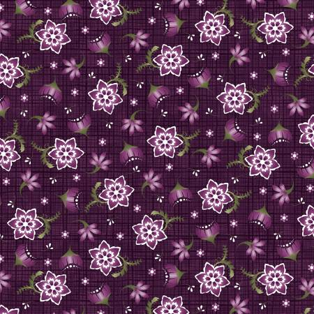 Amour - Deep Plum Stylized Floral