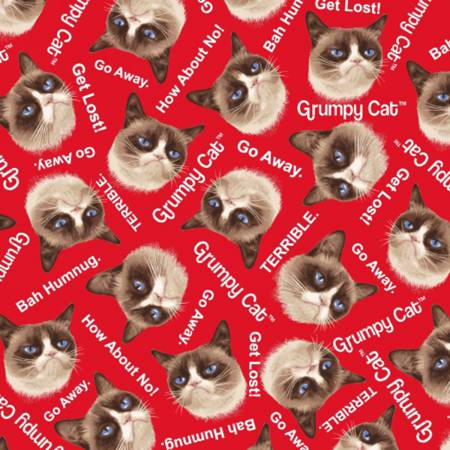 Grumpy Cat Allover on Flannel Red