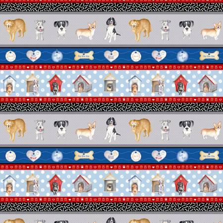 Fabric-Benartex Think Pawsitive Stripe