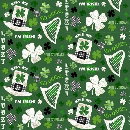 Hello Lucky - Irish Motifs and Words - Green 9733 66