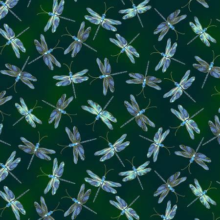 **Hunter Green Moonlit Dragonflies w/Metallic