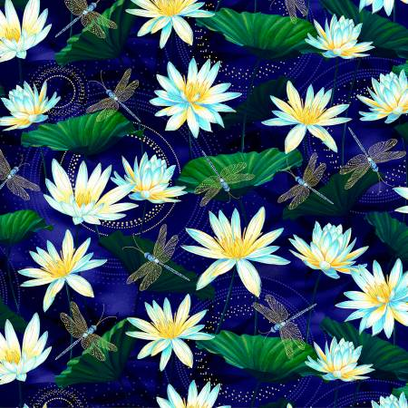 Moonlight Serenade Garden Indigo w/Metallic