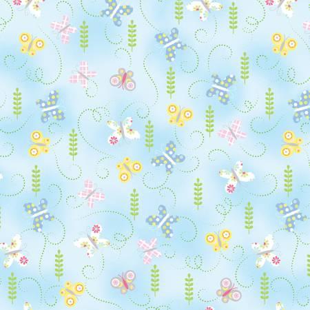 Hippity Hoppity Sky Blue Springtime Butterflies 9763-05