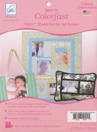 Colorfast Printer Sew-in Fabric Sheets Cream