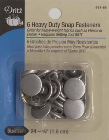 5/8in Sz 24 Antique Silver Snaps Heavy Duty 6ct