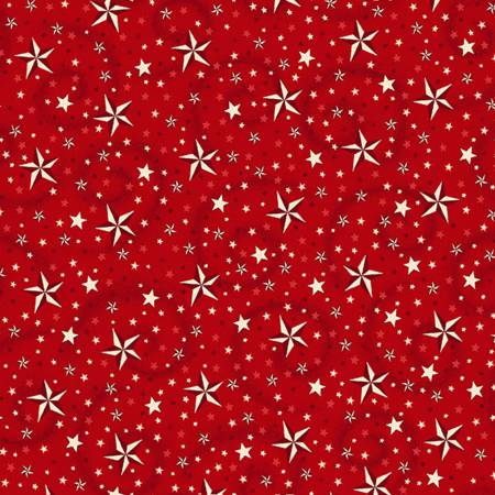 Red Stars w/Swirl 108in Wide Quilt Back