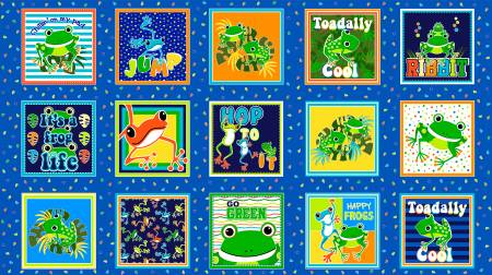 Multi Toadally Cool Squares Glow in the Dark Fabric
