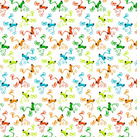 Toadally Frogs - White Hoppy Frogs Glow in the Dark Fabric
