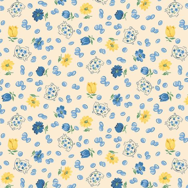 Blue/Yellow Floral Piggy Banks