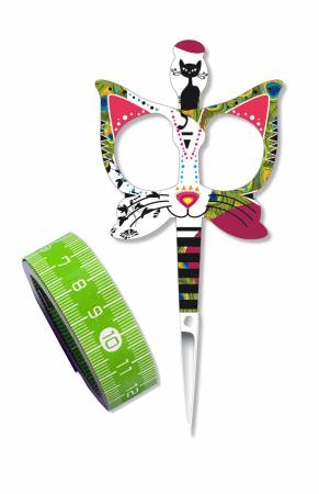 Scissors - Cat Design Plus Tape Measure Green