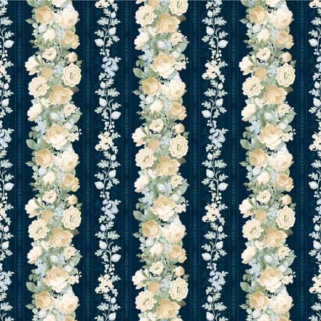 Wilmington Sapphire Blossoms 98662-417 Multi Sapphire Blossoms Repeating Stripe