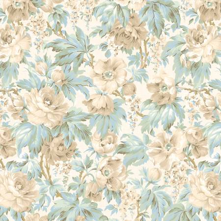 Wilmington Sapphire Blossoms 98663-117 Cream Packed Floral