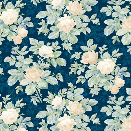 Wilmington Sapphire Blossoms 98664-417 Navy Roses Allover
