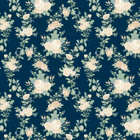 Sapphire Blossoms Navy Twined Roses