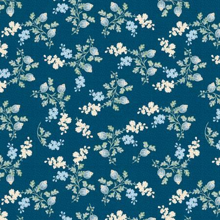 Sapphire Blossoms Navy Medium Foral